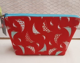 Cosmetic bag, Makeup bag, Travel pouch, Sail boats