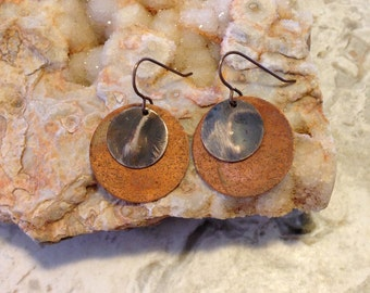 Embossed Natural Brass and Copper Earrings