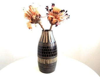 Black and tan striped speckled stoneware vase, ceramic vase