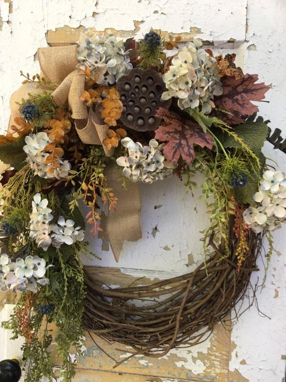 Fall Wreath For Front Door Blue Fall Wreath Blue Hydrangea