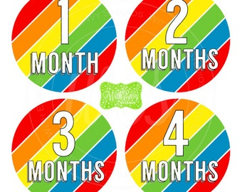 Rainbow Stripes Baby Monthly Stickers - Baby Bodysuit Stickers - Monthly Baby Stickers - Unisex Monthly Stickers - 031