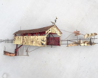 Vintage Curtis Jere' Covered Bridge Mixed Metal Wall Hanging - Signed C Jere