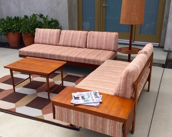 Vintage Mid Century Modular Sectional Sofa Loveseat with Attached Side Table