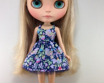 Strawberry Thief in Navy and Purple - Sweetheart V2 - Liberty of London Dress by Blythette