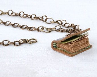 Mini Leather Book, Book Necklace, Wearable Journal, Tiny Sketchbook, Book Jewellery