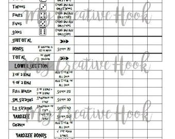 "Printable Yardzee 8.5"" x 11"" Score Sheet Download"