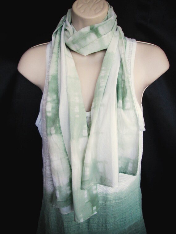 Hand Dyed Shirobi Tie Dye Scarf in Muir Green