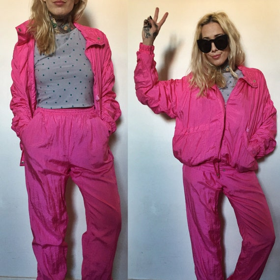90's NEON PINK Windbreaker Pants & Jacket Set Small
