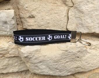 Soccer Keychain Wristlet - Soccer Team Gift Keychain Key Fob - Wristlet Keychain Bracelet Soccer Gifts for Girls-Soccer Coach Gift Key Chain