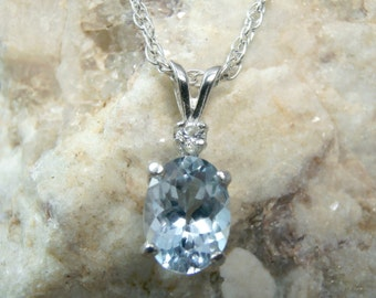 AQUAMARINE - Genuine Ocean-blue Elite Aquamarine .925 Sterling Necklace with White Sapphire accent! FREE SHIPPING!