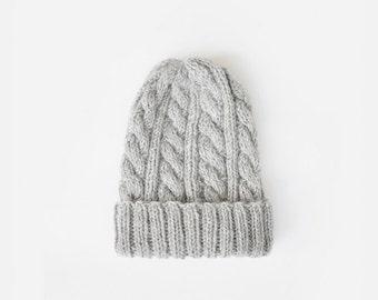 Mens Beanie Hat in Light Grey, Slouchy Winter Hat, Boyfriend Beanie, Rolled up Beanie, Customizable Beanie, Made to Order