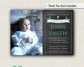 Baptism Invitation Boy - Baptism Invitation Printable - Chalkboard Baptism Invitation - Boy Christening Invite - Bird Invitation