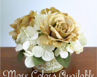 """Silk Rose and Hydrangea Centerpiece, Burlap, Lace, Custom Colors, Ivory, White, Pink, Lavender, Purple, Blue, Green, Brown, Tan, """"Beloved"""""""
