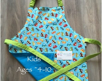 Kid Cars apron with pocket and elastic neck, personalized