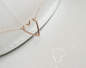 Rose Gold Open Heart Necklace, Open Heart Necklace, Gold Open Heart Necklace, Wedding Jewelry, Love Heart Necklace