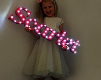 Light up name, light up letters, children's name, Name with lights, kids name sign, light up sign, Bedroom sign, girls name sign, boys name