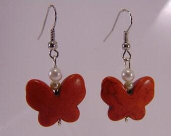 Orange Butterfly Earrings