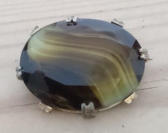 Vintage green striped glass brooch