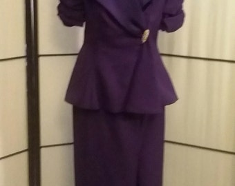 Vintage purple formal suit gown SZ 6