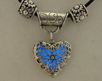 Silver, Glow-In-The-Dark, Heart Necklace MADE TO ORDER