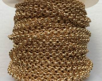 3ft. Thin 3mm Gold Rolo Chain, Electroplated Findings for Jewelry and Crafts, Supplies, Minimalist Style