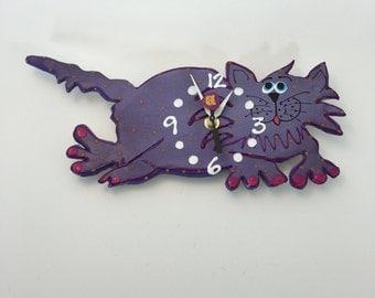 Clock, Cat Clock,Ceramic wall clock, Whimsical ,KITTY-CAT CLOCK, unique wall clock