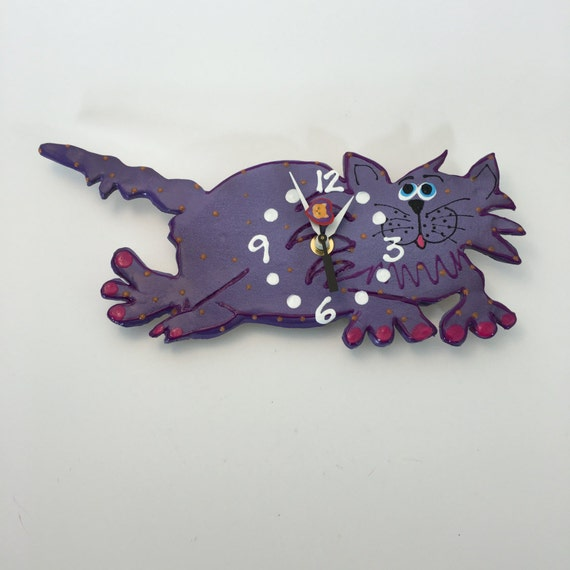 Clock cat clockceramic wall clock whimsical kitty cat - Kitty cat clock ...