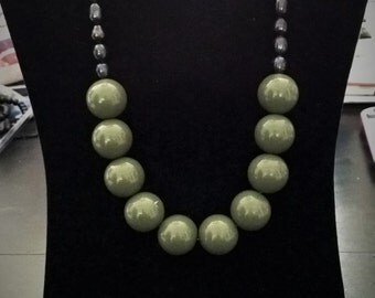 Fun Army Green Chunky Necklace, Chunky Statement Necklace, Iris Green Freshwater Pearls, Beaded Necklace, Handmade, One-of-a-kind!