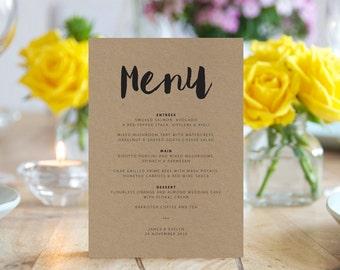 Wedding Menu - Printable - Custom - DIY Rustic wedding