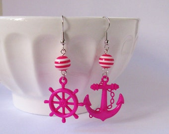 Anchor and Helm Dangle Earrings