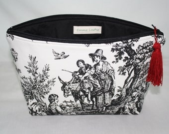 Large Cosmetic Bag in Black and White Toile Canvas with Black Cotton Lining and Red Tassel