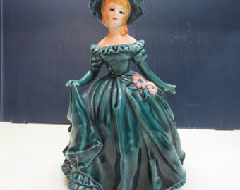 Lefton Lady Planter Figurine Vintage 4337 Ceramic Elegant Woman Green Dress Hat