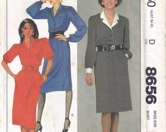 1983 McCalls 8656 Pullover Dress Pattern, Size 10