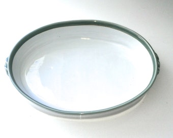 Large Hand Made White and Celadon Serving Dish