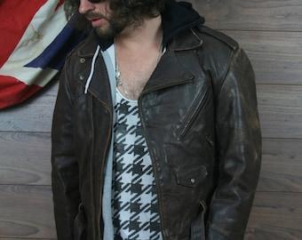vintage leather biker jacket , cafe racer , brown , medium , (28)