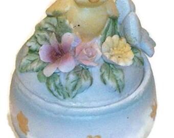 Vintage Lefton Bone China Easter Egg Trinket Box