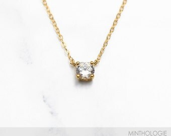 Solitaire CZ Necklace N28 • Delicate CZ Necklace, Tiny Diamond Pendant, Gold CZ Solitaire Necklace, Everyday Necklace, Layering Necklace