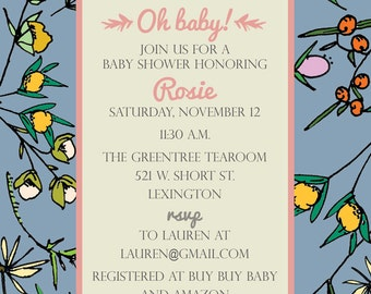 Fall Floral Baby Shower Invitation