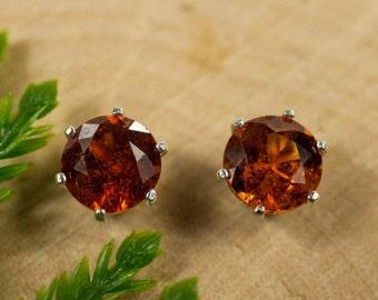 Hessonite Garnet Sterling Silver Earrings