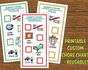 Reusable Kid/Toddler Chore Chart - PreK or Elem School - Printable