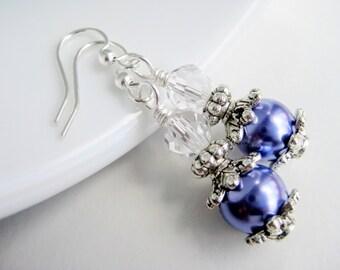 Purple pearl earrings, violet dangle ear rings, jewelry shops, light purple earrings handmade, popular items