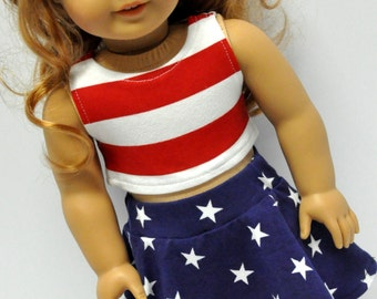 Red and White Striped Crop Top with Navy Star Print Skater Skirt 18 Inch Doll Clothes