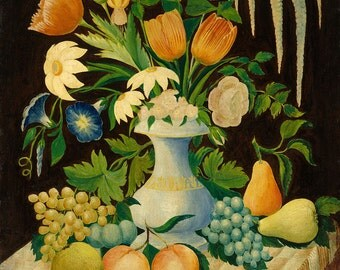 "Folk Art Still Life : ""Flowers and Fruit"" (c. 1870) - Giclee Fine Art Print"