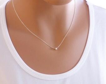 Silver Minimalist Necklace, Silver Necklace, Dainty Necklace, Tiny Hoop Necklace, Simple Necklace, Minimalist Jewelry