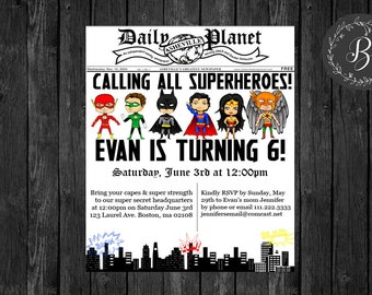 Printable Superhero Newspaper Invitation