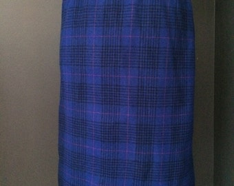 Vintage Pendleton Wool Skirt, Fully Lined, Blue Tartan, Size Small