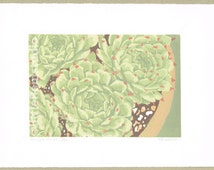 Succulent Art Print- Sempervivum - Original Limited Edition Linocut Reduction Print