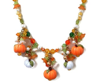Pumpkin Charm Necklace, Polymer Clay Orange and White Pumpkin Charms, Freshwater Pearls, Peridot Beads, Swarovski Crystal, Fall Holiday