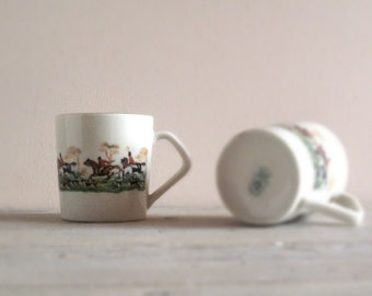 Two Vintage Cups of Coffee - Equestrian motif, Espresso Cups and Saucers