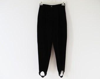 Vintage 80's Black Velvet Pants High Waist Pants Women Peg Leg Pants With Stirrups Black Velvet Trousers Gerry Weber Pants Medium Size